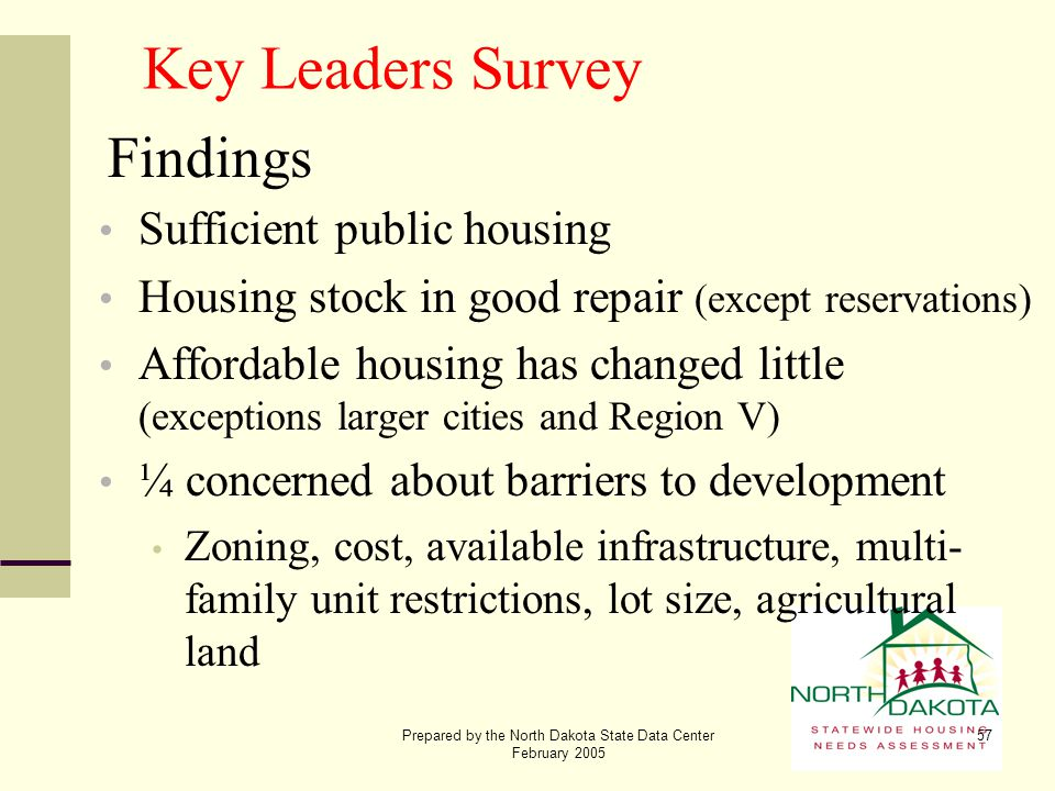 Prepared by the North Dakota State Data Center February 2005 57 Key Leaders Survey Findings Sufficient public housing Housing stock in good repair (ex
