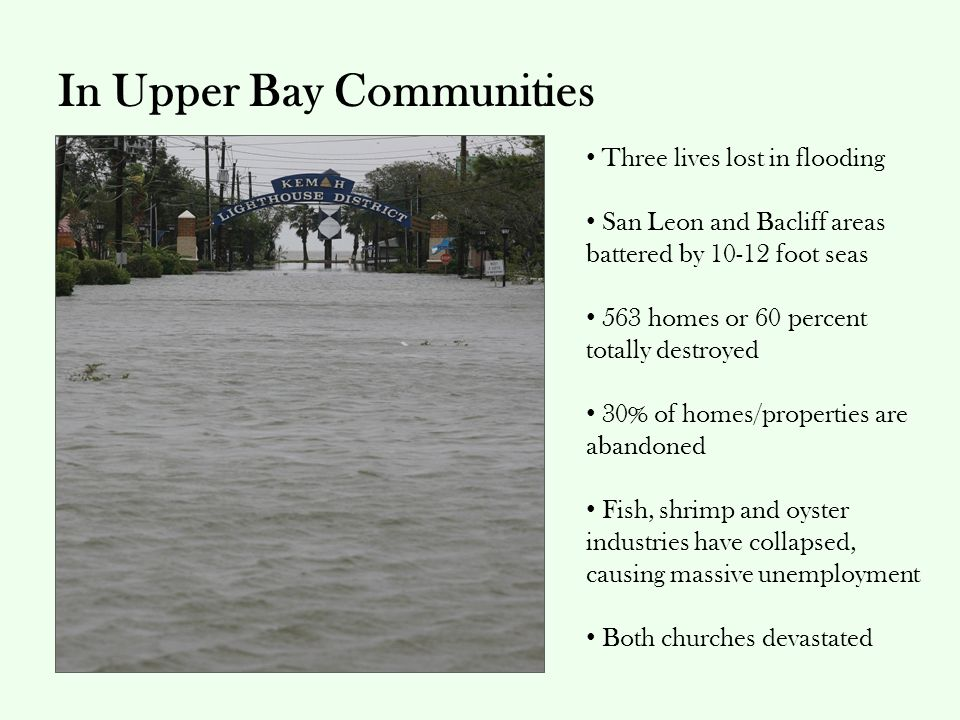 In Upper Bay Communities Three lives lost in flooding San Leon and Bacliff areas battered by 10-12 foot seas 563 homes or 60 percent totally destroyed 30% of homes/properties are abandoned Fish, shrimp and oyster industries have collapsed, causing massive unemployment Both churches devastated