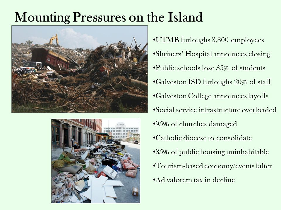 Mounting Pressures on the Island UTMB furloughs 3,800 employees Shriners' Hospital announces closing Public schools lose 35% of students Galveston ISD furloughs 20% of staff Galveston College announces layoffs Social service infrastructure overloaded 95% of churches damaged Catholic diocese to consolidate 85% of public housing uninhabitable Tourism-based economy/events falter Ad valorem tax in decline