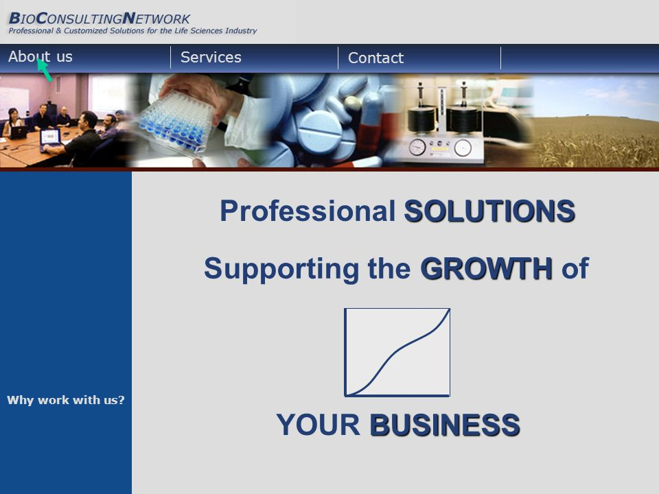 BUSINESS YOUR BUSINESS About us Services Contact SOLUTIONS Professional SOLUTIONS GROWTH Supporting the GROWTH of Why work with us