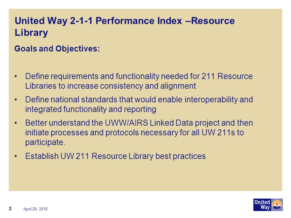 United Way 2-1-1 Performance Index –Resource Library Goals and Objectives: Define requirements and functionality needed for 211 Resource Libraries to
