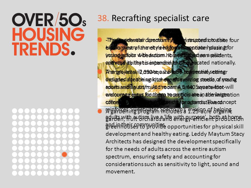 38. Recrafting specialist care The Sweetwater Spectrum model responds to the extraordinary unmet need for appropriate housing for young adults with au