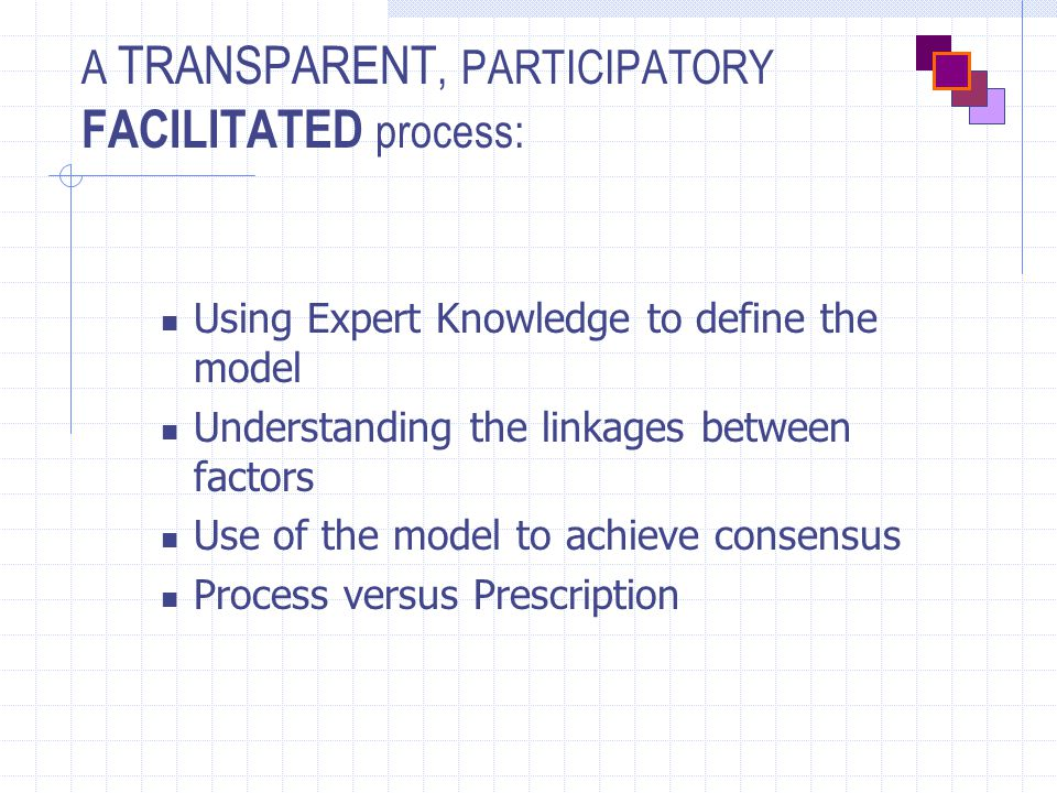 A TRANSPARENT, PARTICIPATORY FACILITATED process: Using Expert Knowledge to define the model Understanding the linkages between factors Use of the model to achieve consensus Process versus Prescription