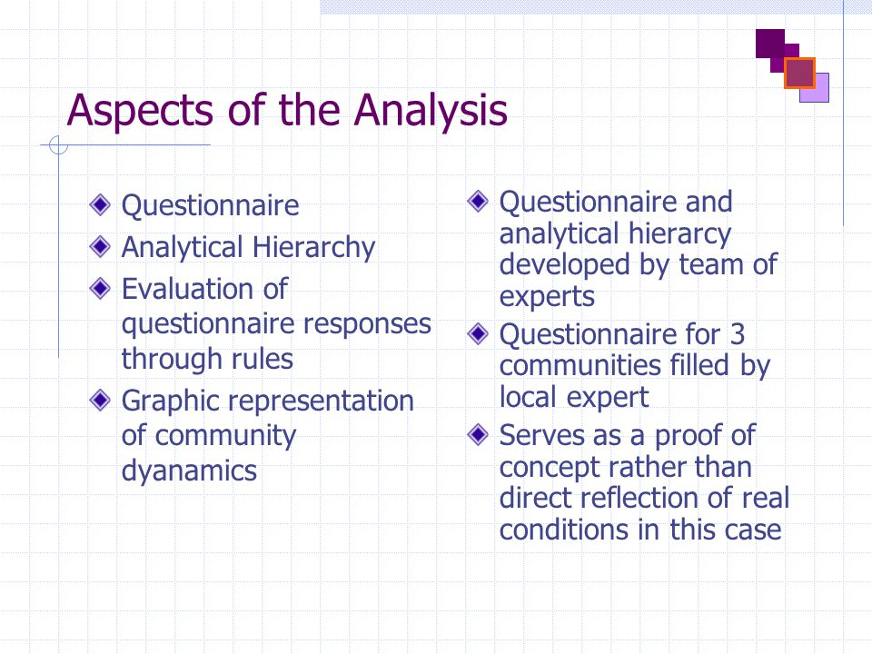 Aspects of the Analysis Questionnaire Analytical Hierarchy Evaluation of questionnaire responses through rules Graphic representation of community dyanamics Questionnaire and analytical hierarcy developed by team of experts Questionnaire for 3 communities filled by local expert Serves as a proof of concept rather than direct reflection of real conditions in this case