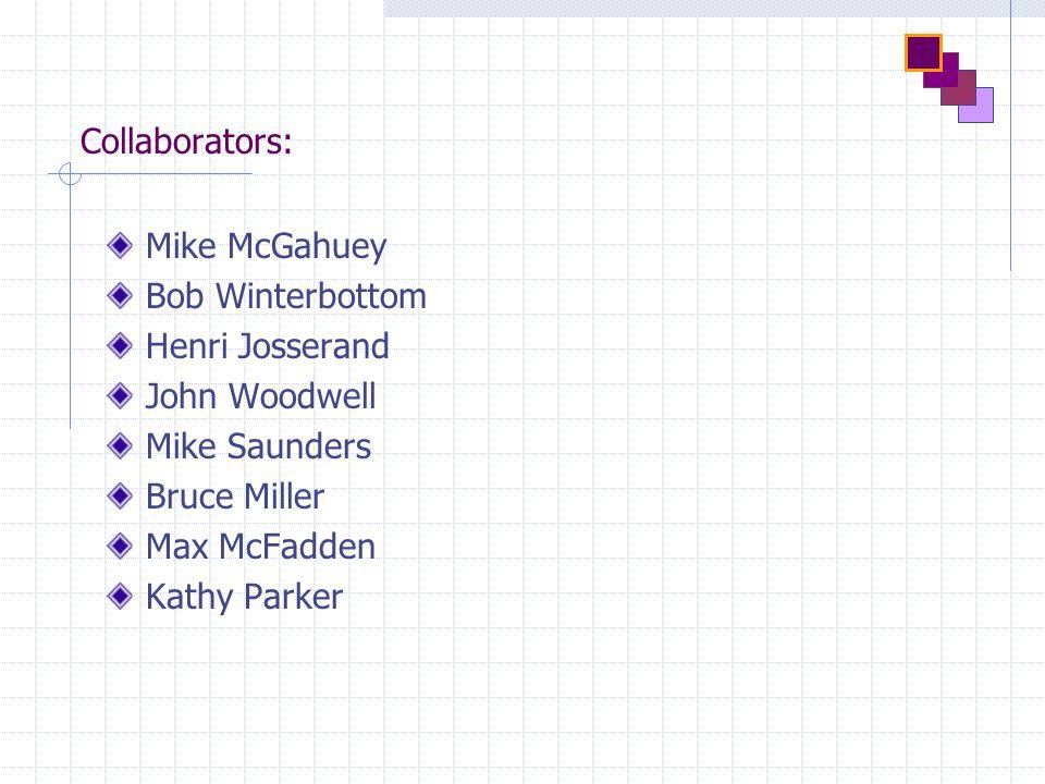 Collaborators: Mike McGahuey Bob Winterbottom Henri Josserand John Woodwell Mike Saunders Bruce Miller Max McFadden Kathy Parker