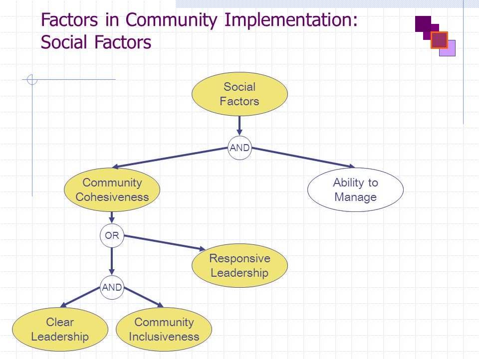 Factors in Community Implementation: Social Factors AND Social Factors Clear Leadership Community Inclusiveness Responsive Leadership Ability to Manage Community Cohesiveness AND OR Ability to Manage