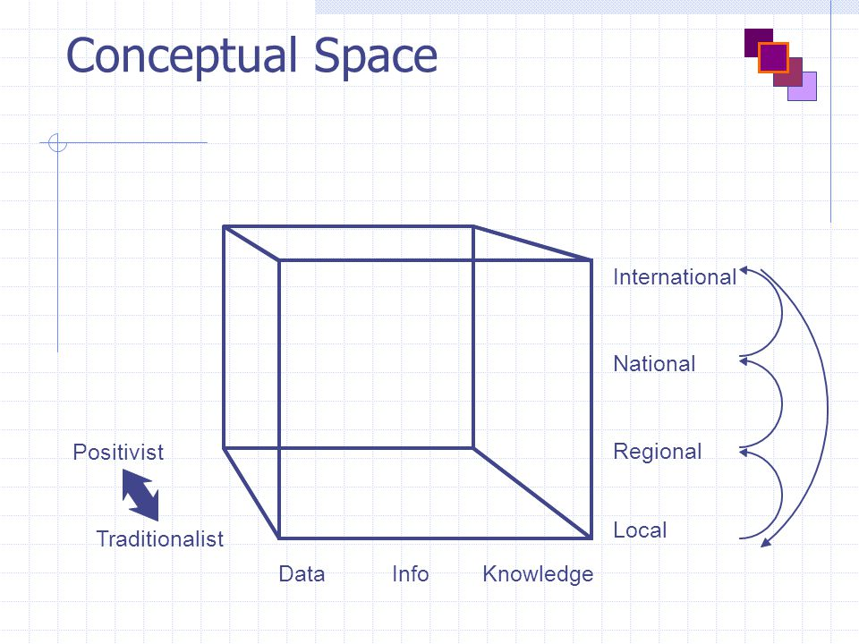Conceptual Space Positivist Traditionalist DataKnowledgeInfo International Local Regional National