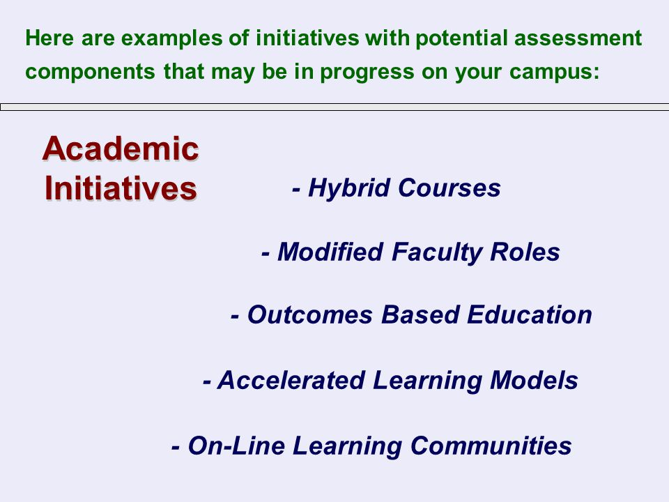Academic Initiatives Academic Initiatives - Hybrid Courses - Accelerated Learning Models - Outcomes Based Education - Modified Faculty Roles - On-Line