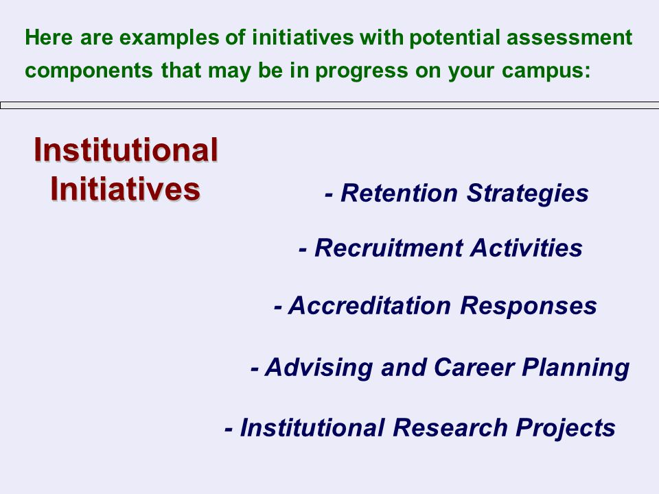 Institutional Initiatives Institutional Initiatives - Accreditation Responses - Retention Strategies - Recruitment Activities - Institutional Research