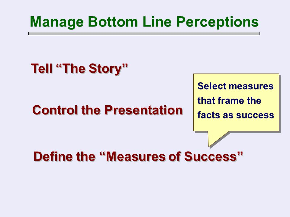 "Tell ""The Story"" Manage Bottom Line Perceptions Control the Presentation Define the ""Measures of Success"" Select measures that frame the facts as succ"