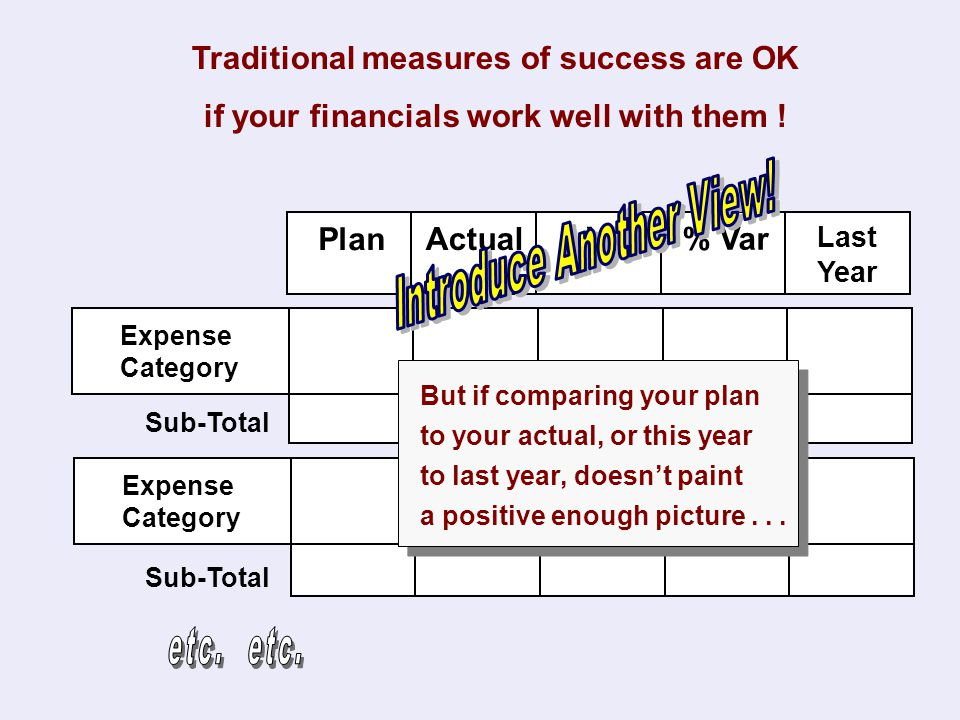 Traditional measures of success are OK if your financials work well with them ! Plan Actual % Var$ Var Last Year Expense Category Sub-Total Expense Ca