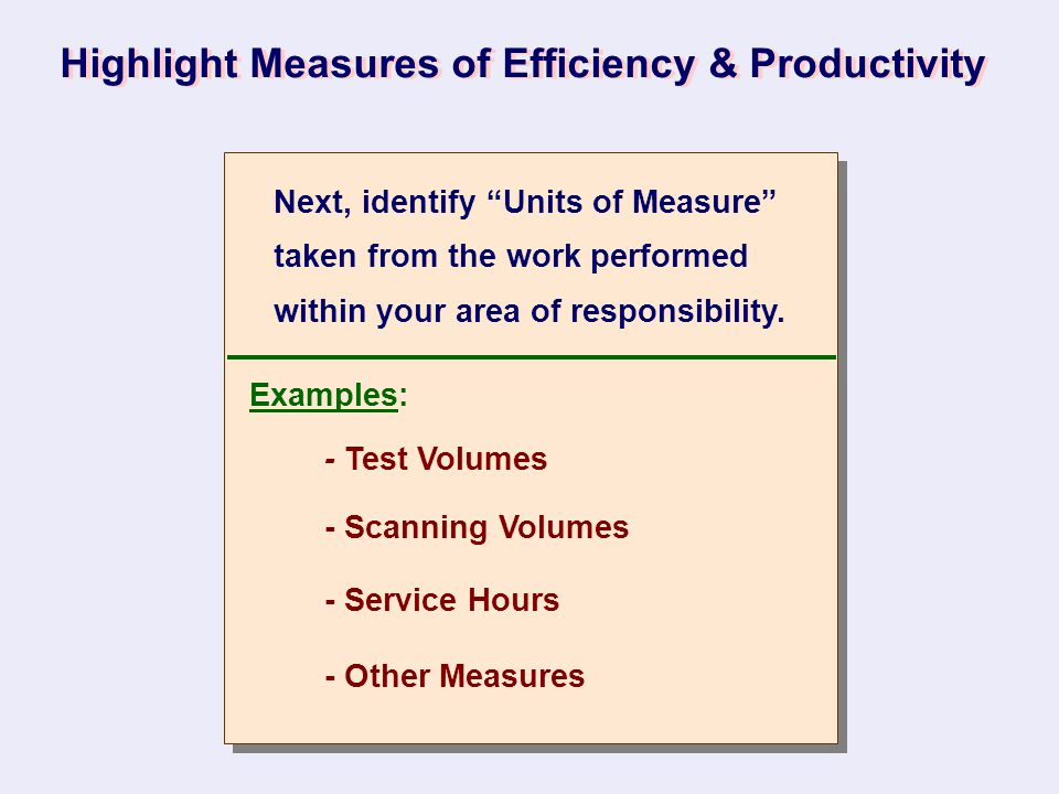 "Highlight Measures of Efficiency & Productivity Next, identify ""Units of Measure"" taken from the work performed within your area of responsibility. Ex"