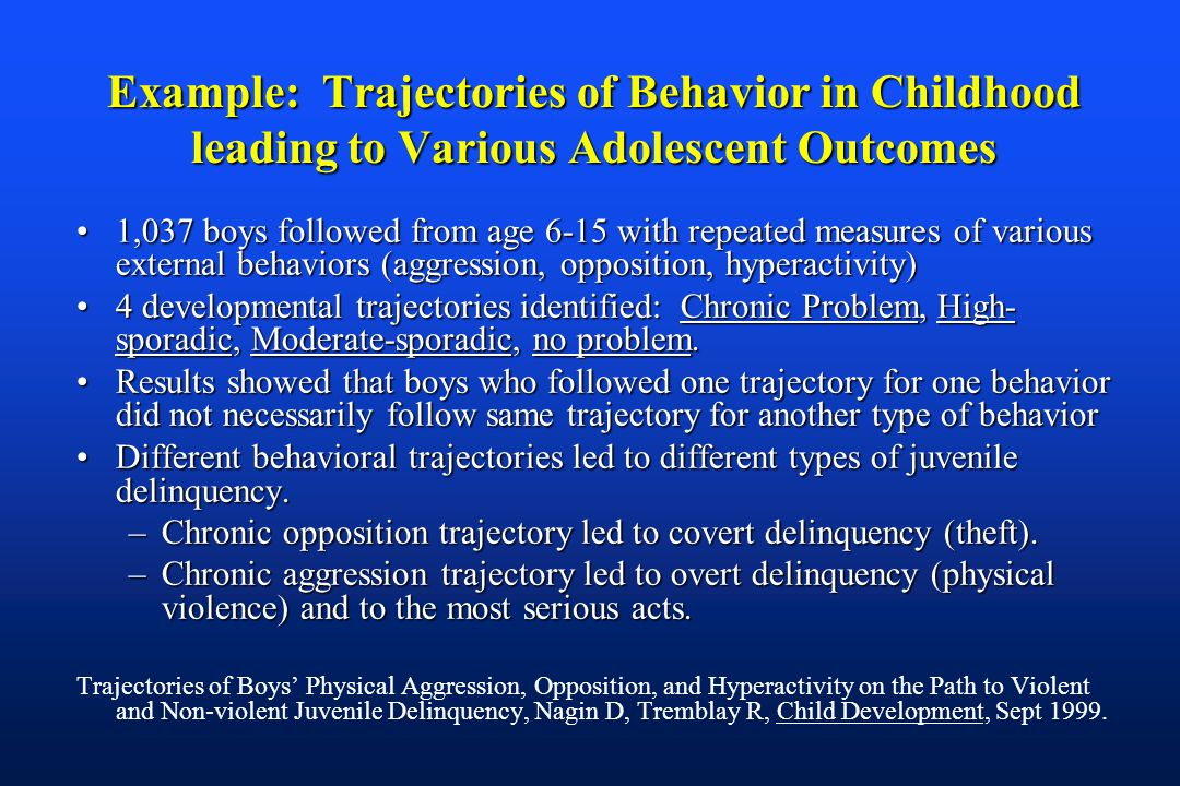 Example: Trajectories of Behavior in Childhood leading to Various Adolescent Outcomes 1,037 boys followed from age 6-15 with repeated measures of various external behaviors (aggression, opposition, hyperactivity)1,037 boys followed from age 6-15 with repeated measures of various external behaviors (aggression, opposition, hyperactivity) 4 developmental trajectories identified: Chronic Problem, High- sporadic, Moderate-sporadic, no problem.4 developmental trajectories identified: Chronic Problem, High- sporadic, Moderate-sporadic, no problem.