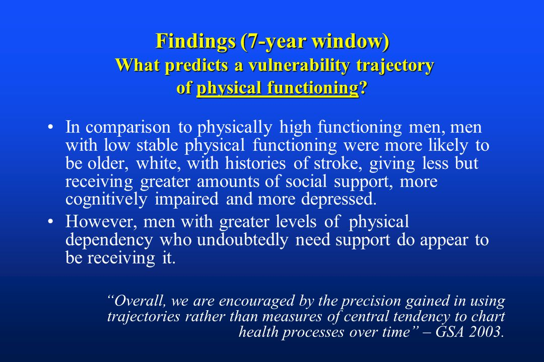 Findings (7-year window) What predicts a vulnerability trajectory of physical functioning.