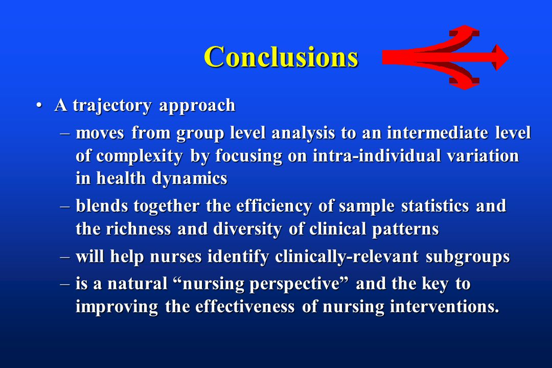 Conclusions Conclusions A trajectory approachA trajectory approach –moves from group level analysis to an intermediate level of complexity by focusing on intra-individual variation in health dynamics –blends together the efficiency of sample statistics and the richness and diversity of clinical patterns –will help nurses identify clinically-relevant subgroups –is a natural nursing perspective and the key to improving the effectiveness of nursing interventions.