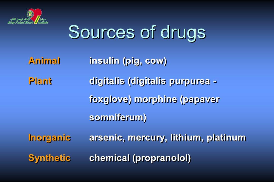 Sources of drugs Animalinsulin (pig, cow) Plantdigitalis (digitalis purpurea - foxglove) morphine (papaver somniferum) Inorganic arsenic, mercury, lithium, platinum Synthetic chemical (propranolol) Animalinsulin (pig, cow) Plantdigitalis (digitalis purpurea - foxglove) morphine (papaver somniferum) Inorganic arsenic, mercury, lithium, platinum Synthetic chemical (propranolol)