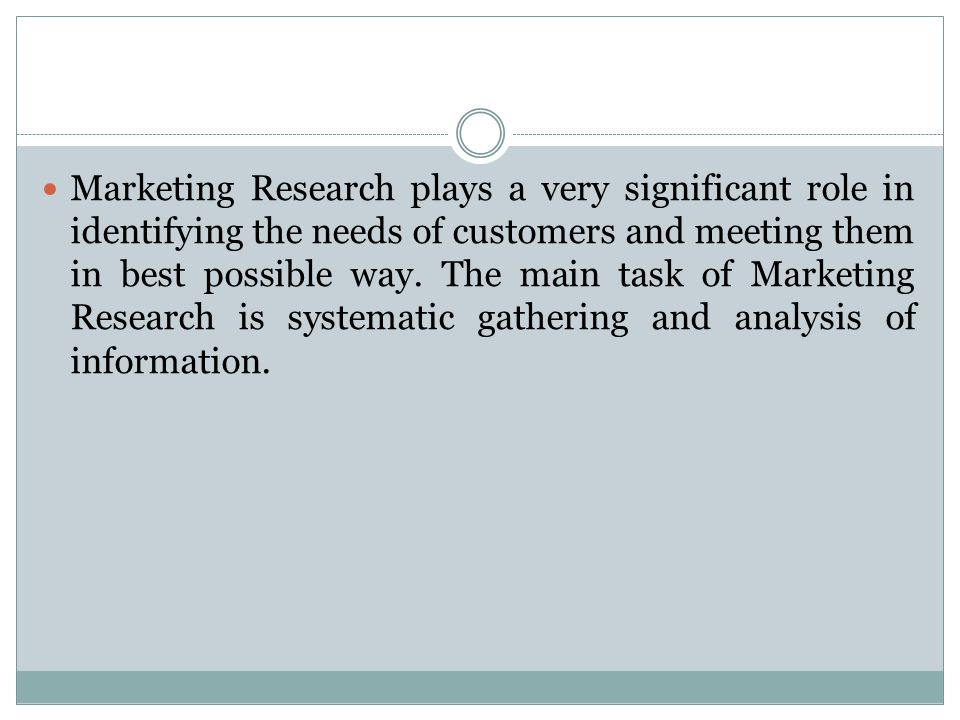 Marketing Research plays a very significant role in identifying the needs of customers and meeting them in best possible way.