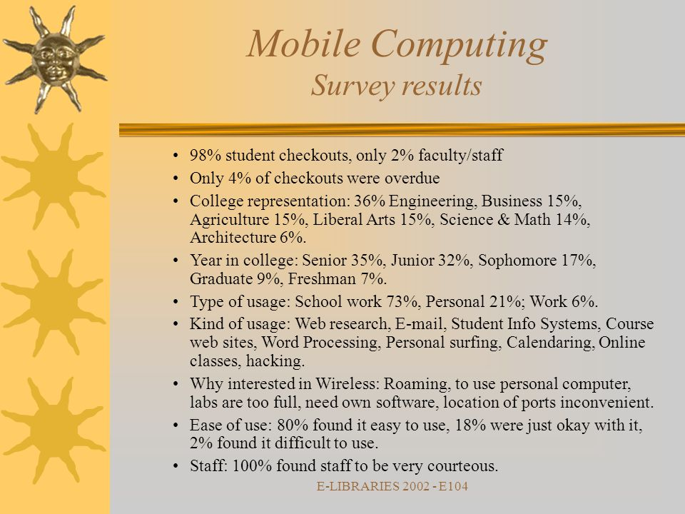 E-LIBRARIES 2002 - E104 Mobile Computing Survey results 98% student checkouts, only 2% faculty/staff Only 4% of checkouts were overdue College representation: 36% Engineering, Business 15%, Agriculture 15%, Liberal Arts 15%, Science & Math 14%, Architecture 6%.