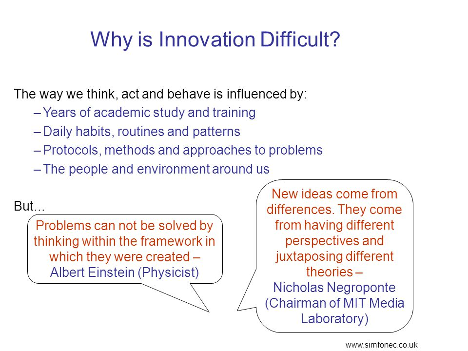 www.simfonec.co.uk Why is Innovation Difficult.