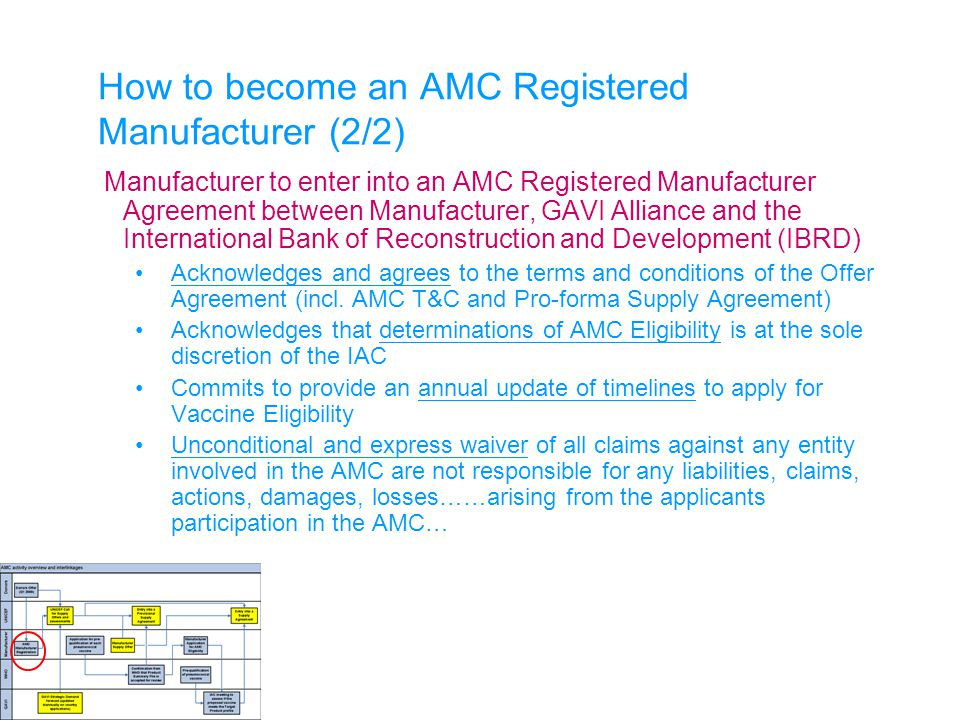 How to become an AMC Registered Manufacturer (2/2) Manufacturer to enter into an AMC Registered Manufacturer Agreement between Manufacturer, GAVI Alli