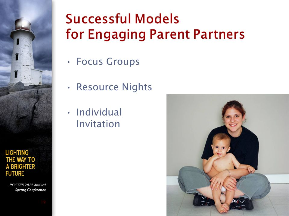 PCCYFS 2012 Annual Spring Conference 19 Successful Models for Engaging Parent Partners Focus Groups Resource Nights Individual Invitation