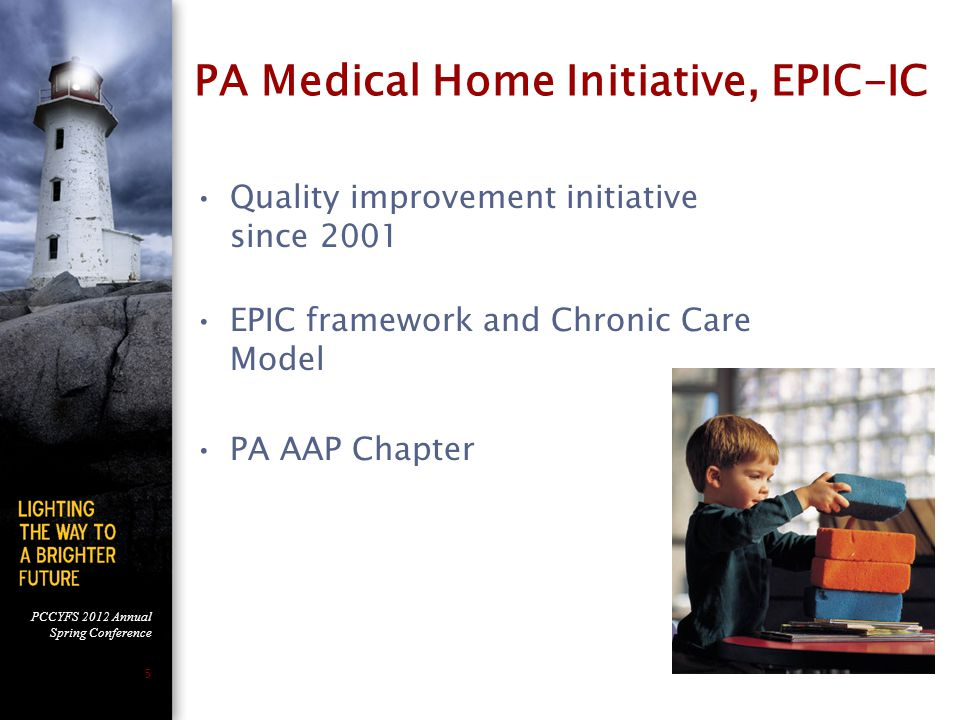 PCCYFS 2012 Annual Spring Conference 5 PA Medical Home Initiative, EPIC-IC Quality improvement initiative since 2001 EPIC framework and Chronic Care Model PA AAP Chapter
