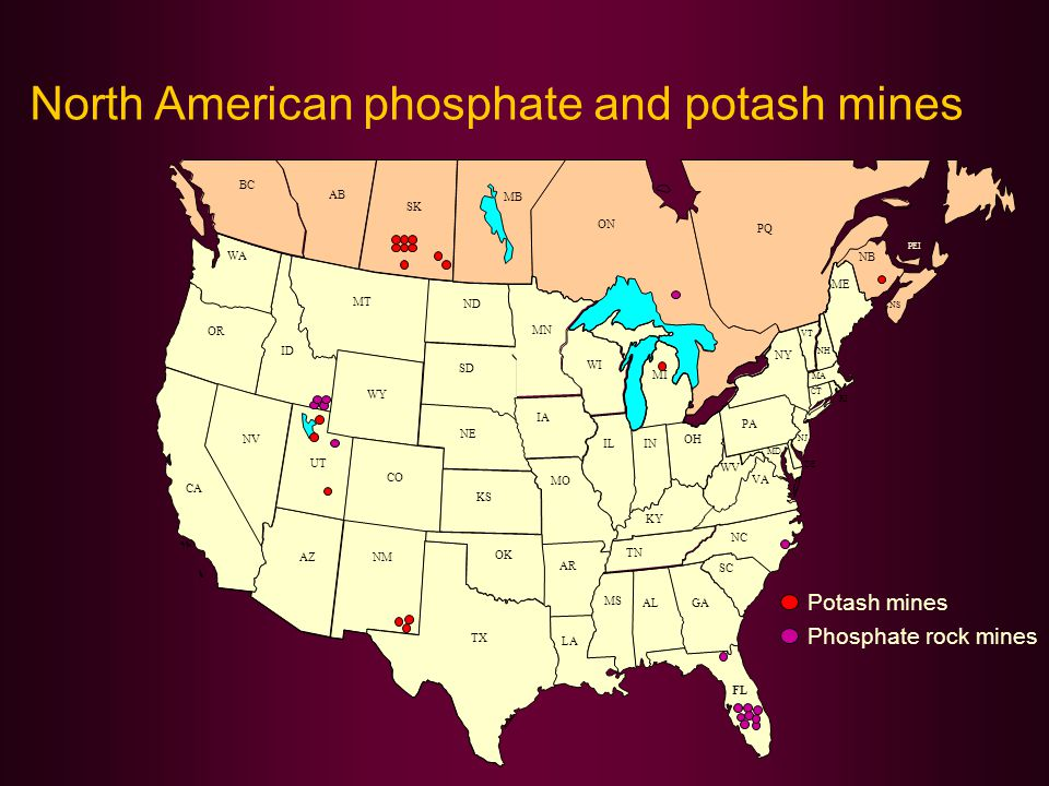 North American phosphate and potash mines