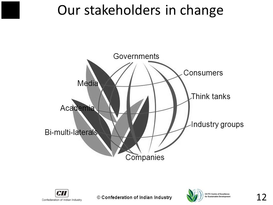 © Confederation of Indian Industry 12 Our stakeholders in change Governments Companies Media Think tanks Industry groups Academia Bi-multi-laterals Consumers