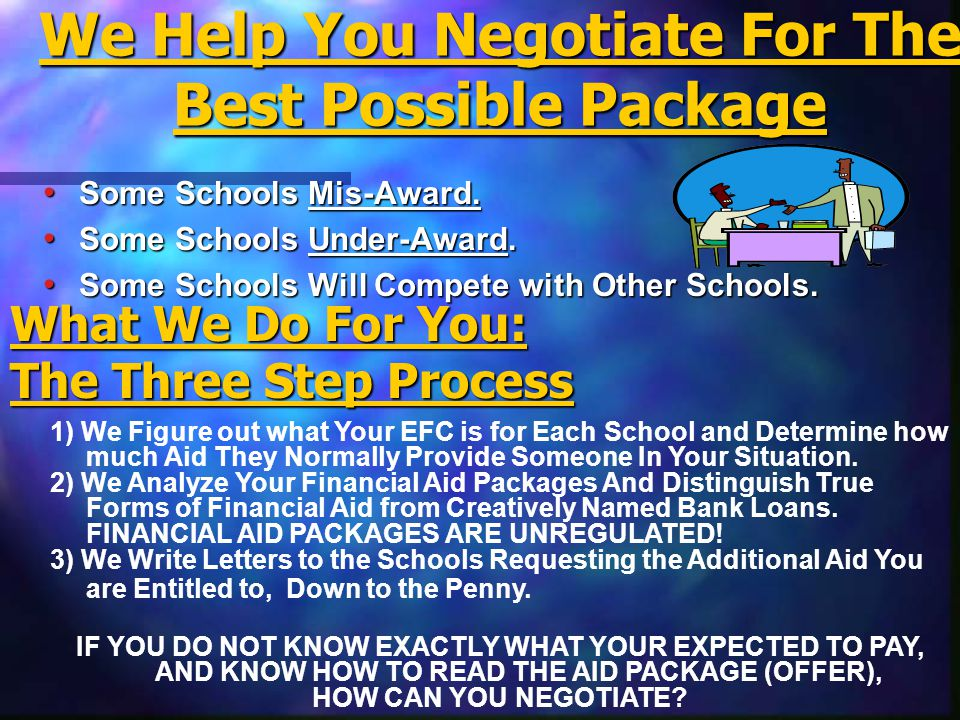 We Help You Negotiate For The Best Possible Package Some Schools Mis-Award. Some Schools Mis-Award. Some Schools Under-Award. Some Schools Under-Award