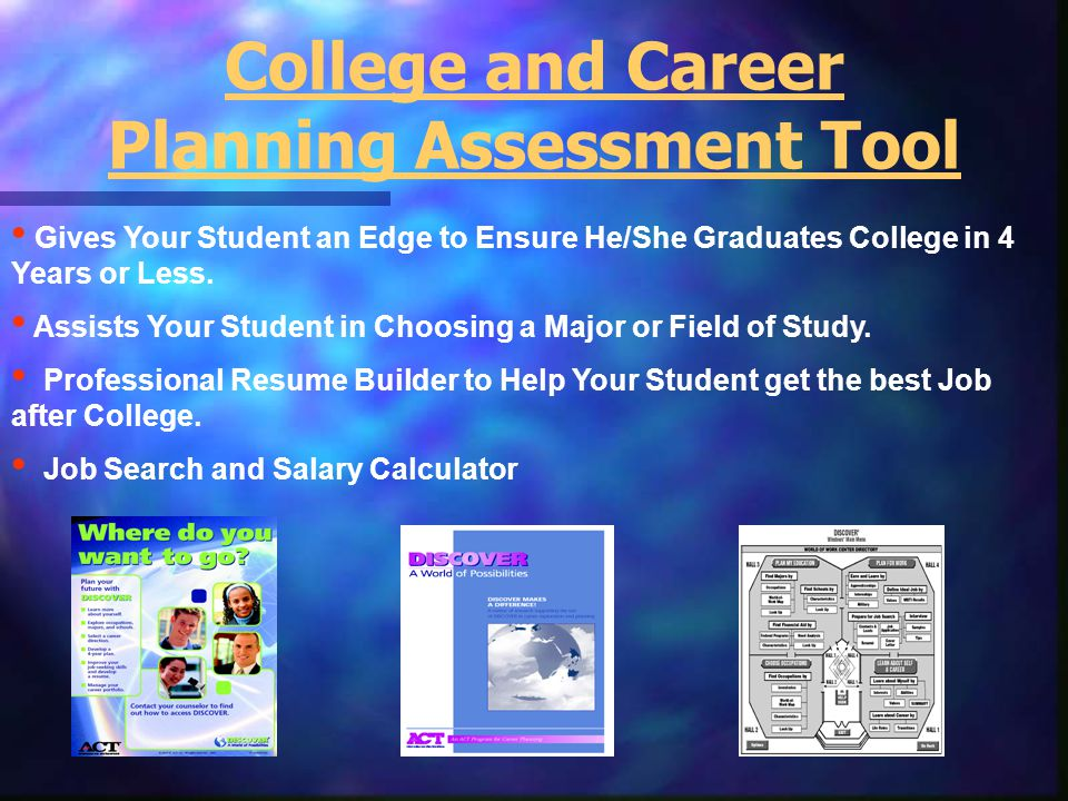 Gives Your Student an Edge to Ensure He/She Graduates College in 4 Years or Less. Assists Your Student in Choosing a Major or Field of Study. Professi