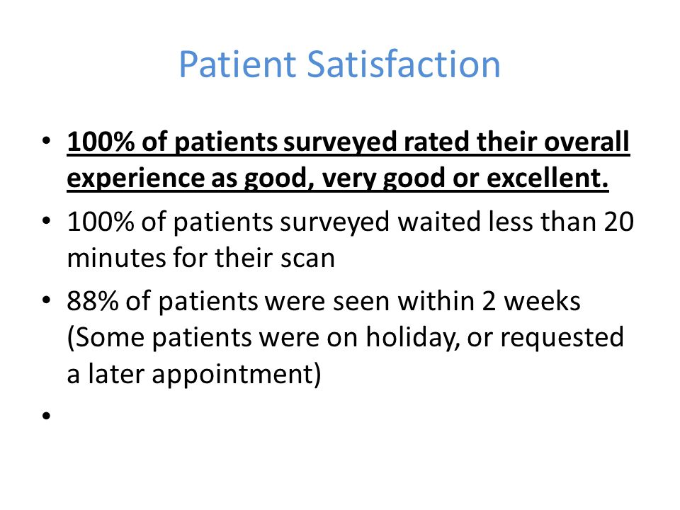Patient Satisfaction 100% of patients surveyed rated their overall experience as good, very good or excellent.