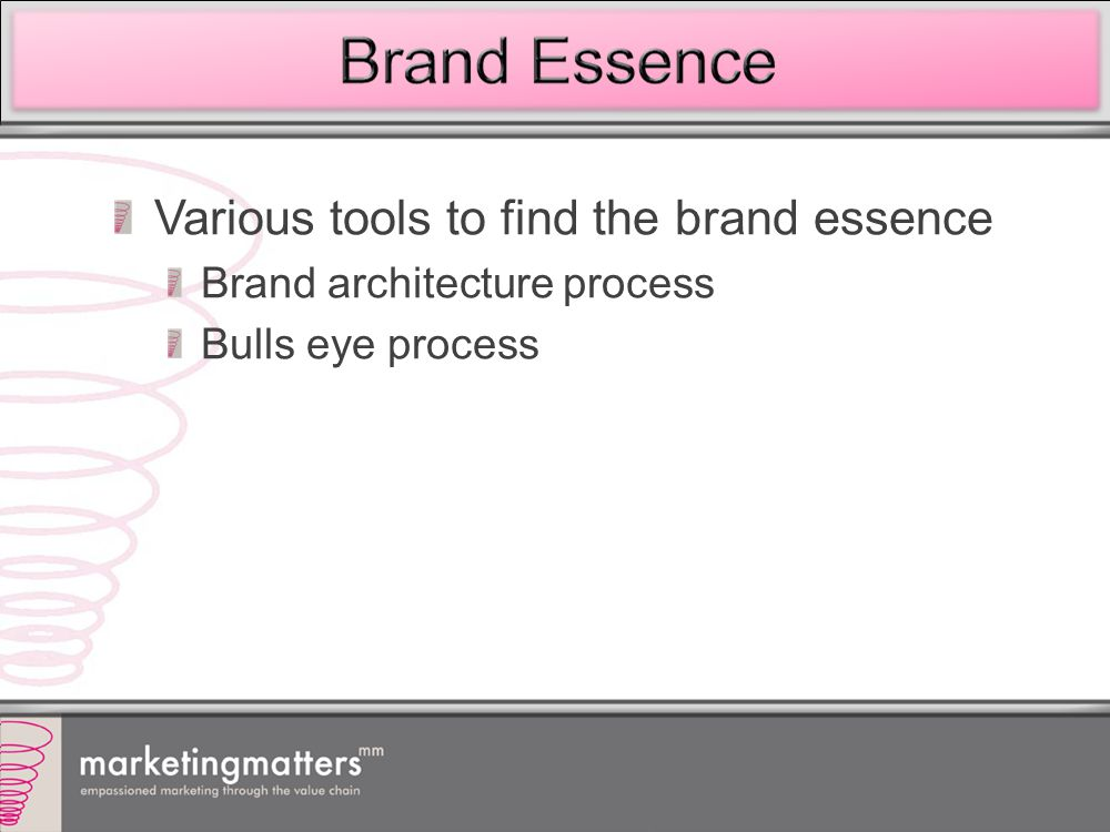 Various tools to find the brand essence Brand architecture process Bulls eye process