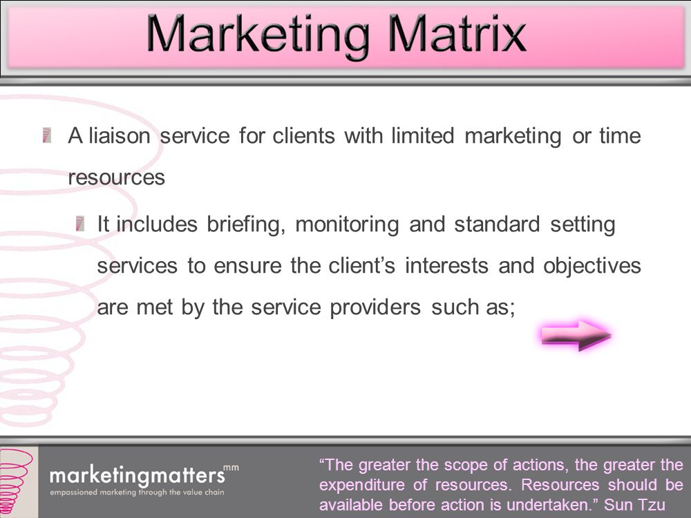 A liaison service for clients with limited marketing or time resources It includes briefing, monitoring and standard setting services to ensure the client's interests and objectives are met by the service providers such as; The greater the scope of actions, the greater the expenditure of resources.