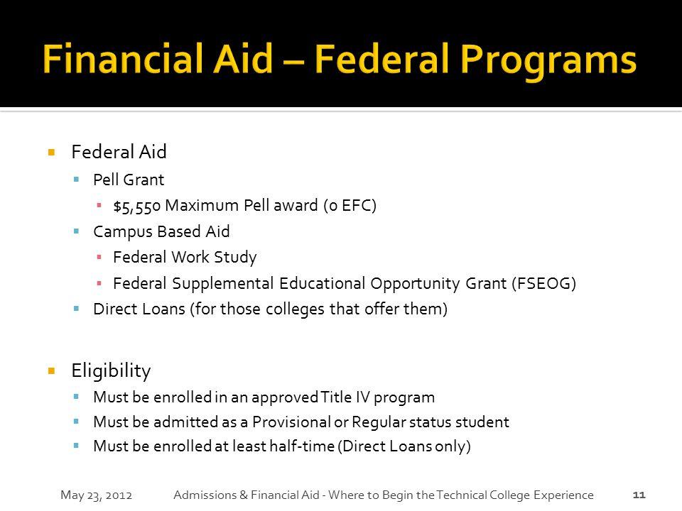 11  Federal Aid  Pell Grant ▪ $5,550 Maximum Pell award (0 EFC)  Campus Based Aid ▪ Federal Work Study ▪ Federal Supplemental Educational Opportuni