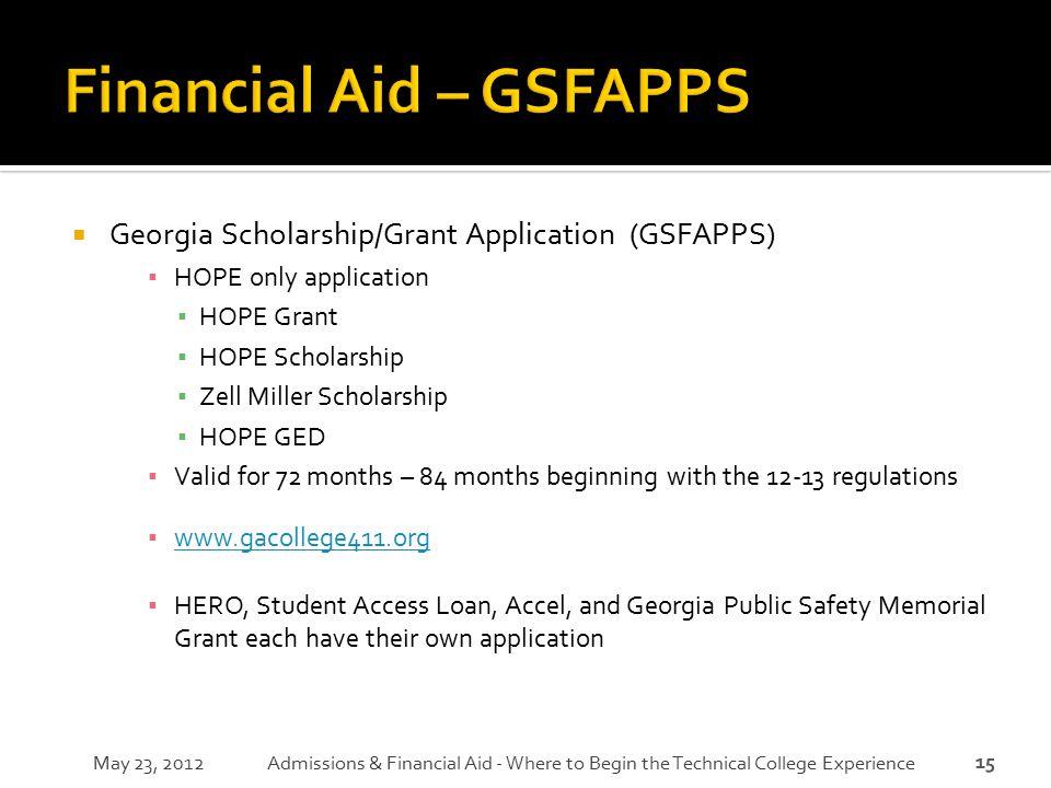 15  Georgia Scholarship/Grant Application (GSFAPPS) ▪ HOPE only application ▪ HOPE Grant ▪ HOPE Scholarship ▪ Zell Miller Scholarship ▪ HOPE GED ▪ Va