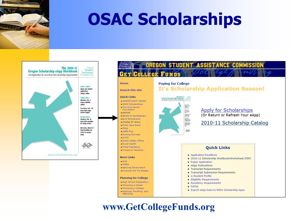 OSAC Scholarships www.GetCollegeFunds.org