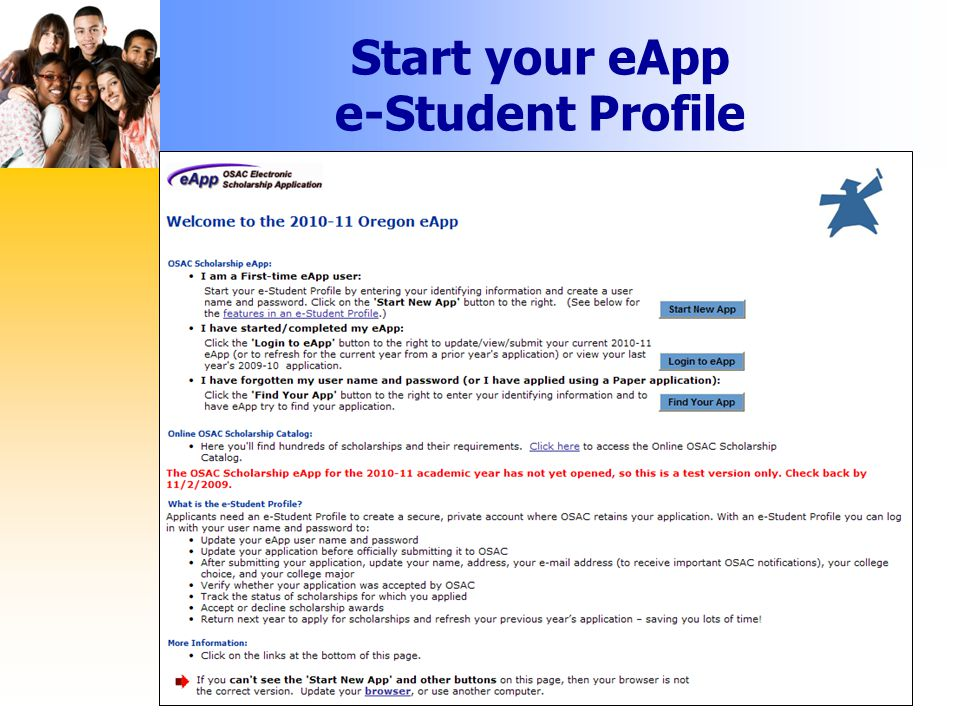 Start your eApp e-Student Profile