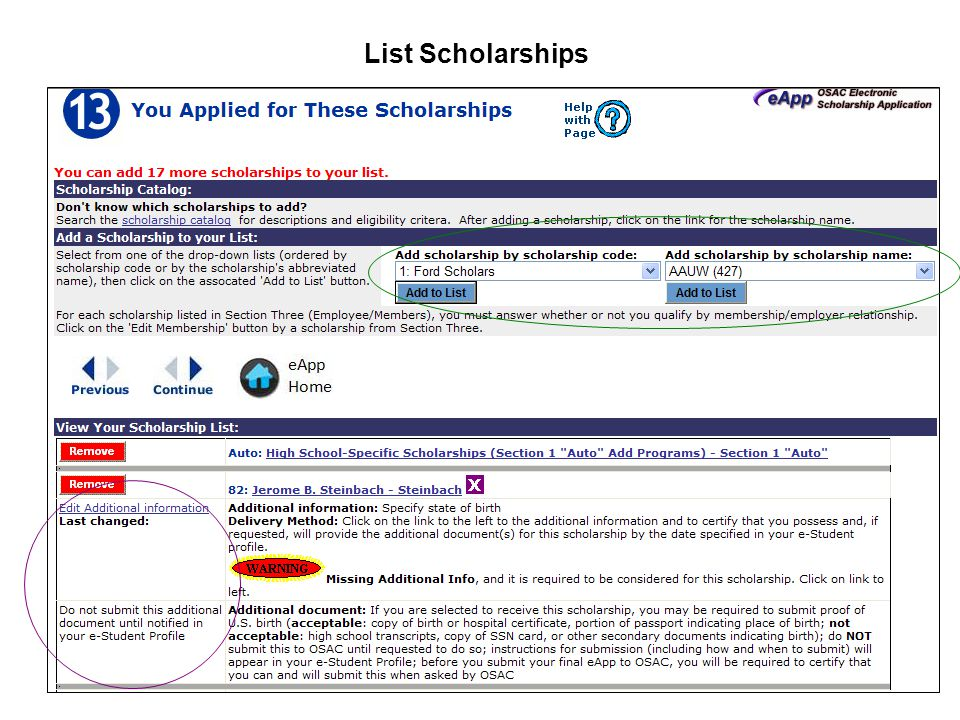 List Scholarships