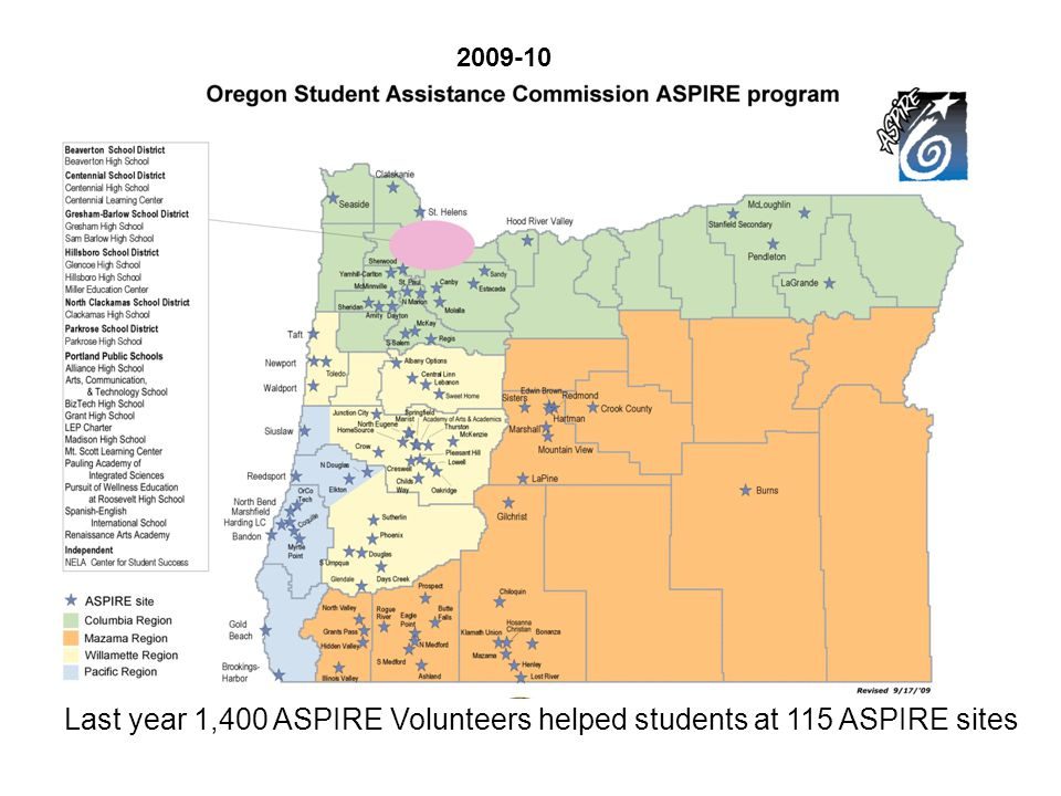 Last year 1,400 ASPIRE Volunteers helped students at 115 ASPIRE sites 2009-10