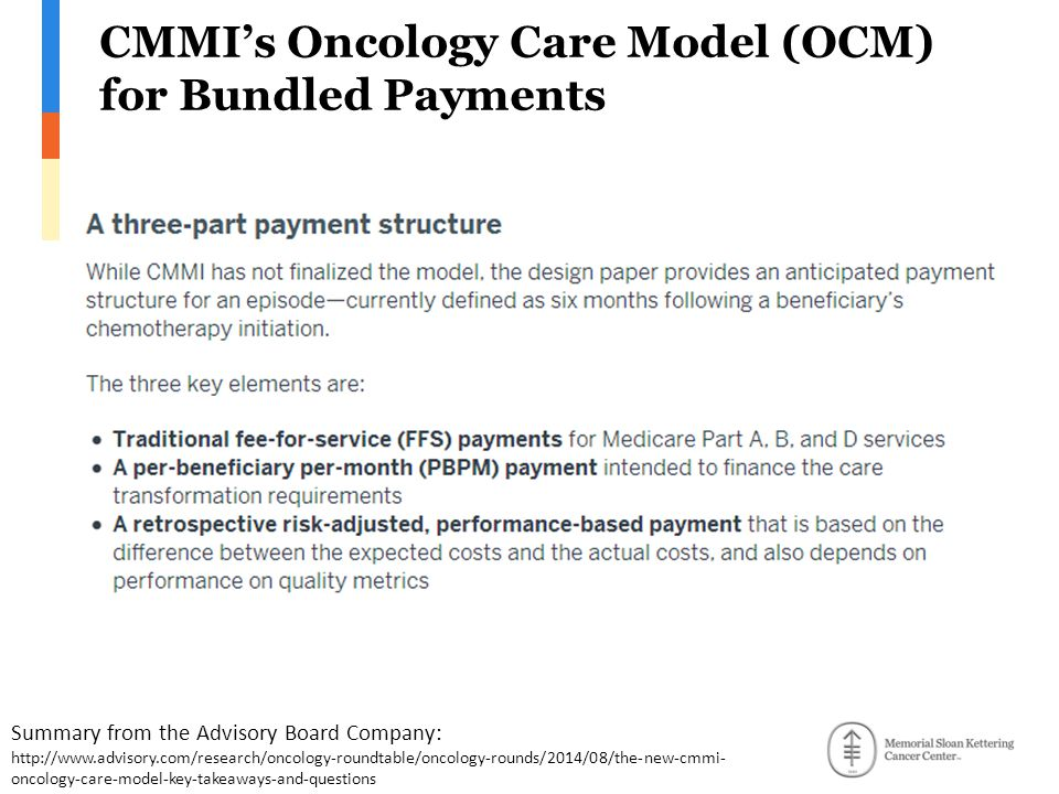 CMMI's Oncology Care Model (OCM) for Bundled Payments Summary from the Advisory Board Company: http://www.advisory.com/research/oncology-roundtable/oncology-rounds/2014/08/the-new-cmmi- oncology-care-model-key-takeaways-and-questions