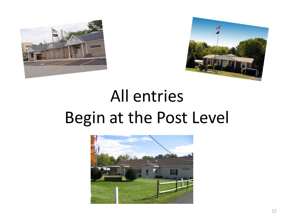 All entries Begin at the Post Level 12