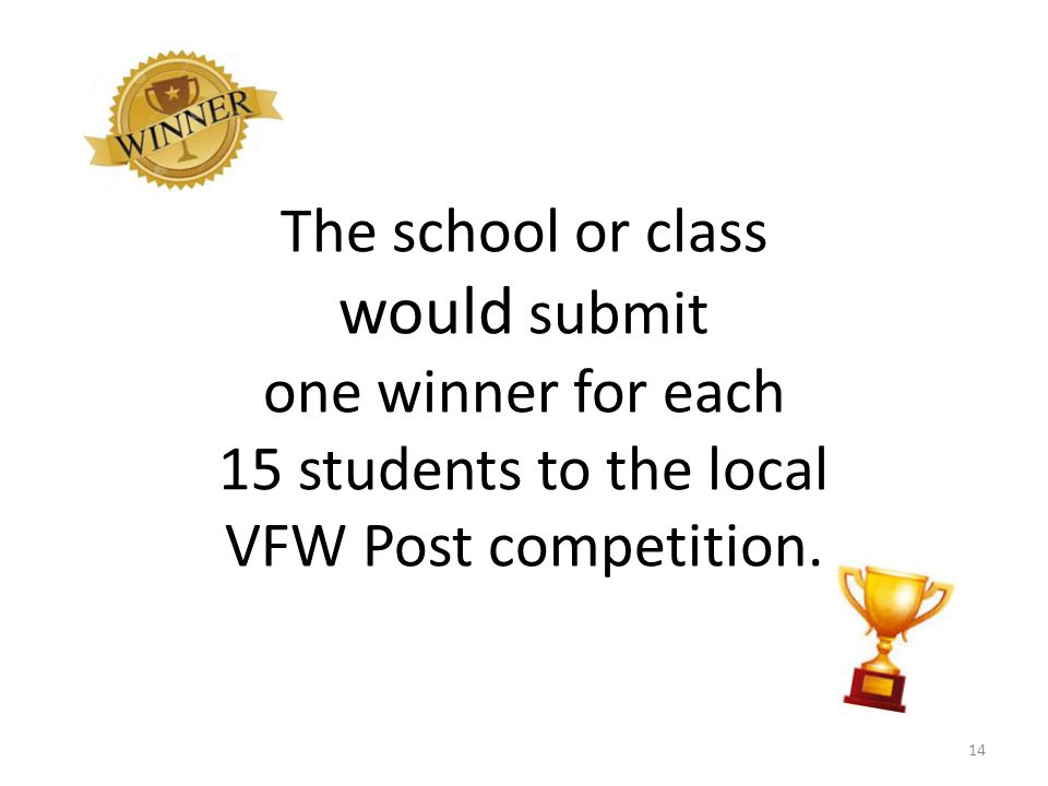 The school or class would submit one winner for each 15 students to the local VFW Post competition.