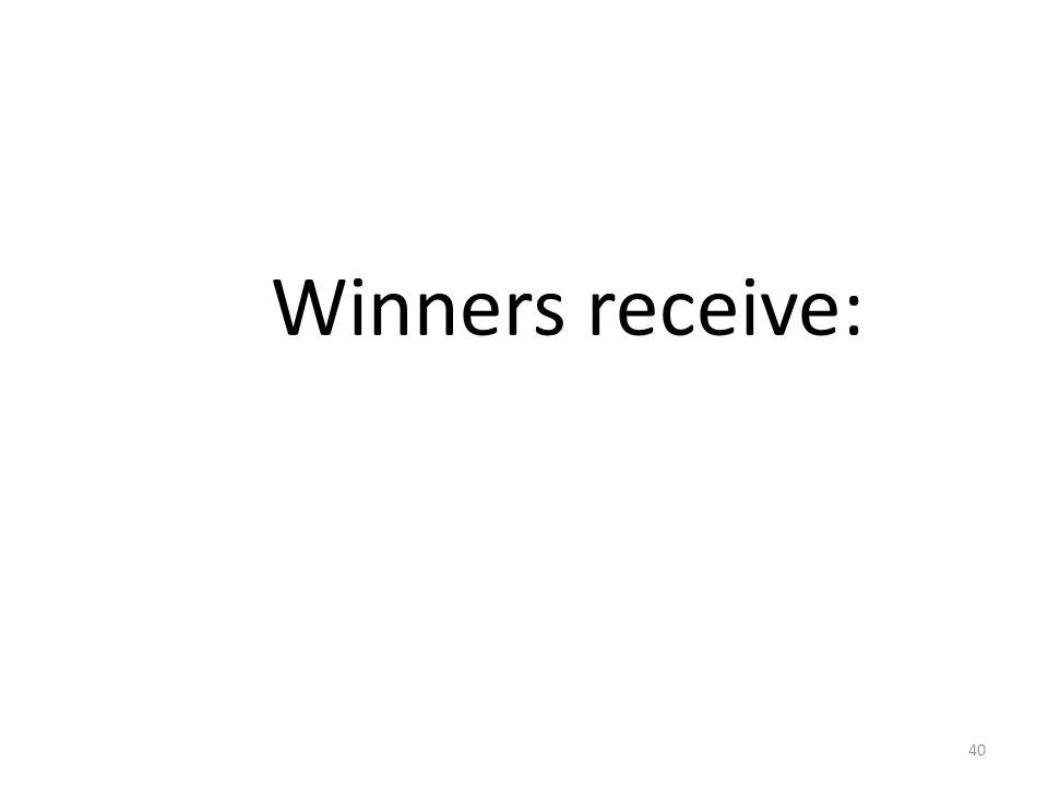 Winners receive: 40