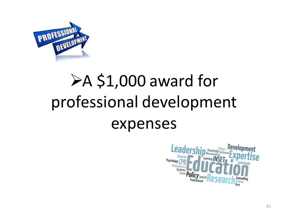  A $1,000 award for professional development expenses 41