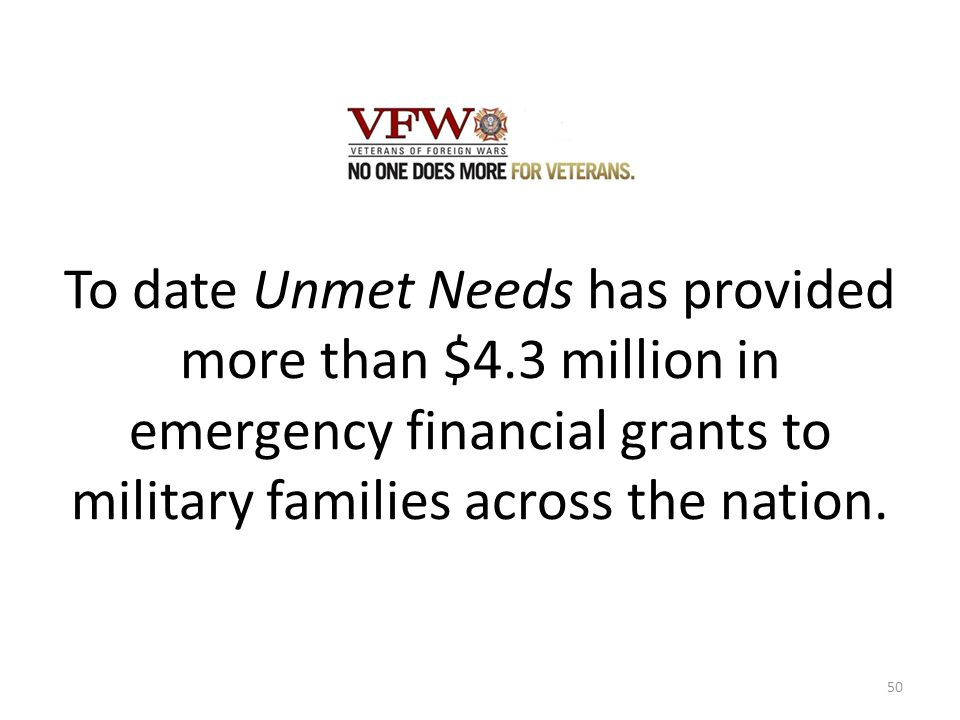 To date Unmet Needs has provided more than $4.3 million in emergency financial grants to military families across the nation.