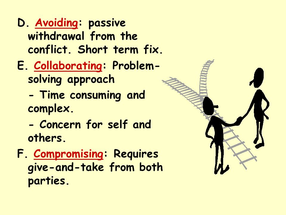 D. Avoiding: passive withdrawal from the conflict. Short term fix. E. Collaborating: Problem- solving approach - Time consuming and complex. - Concern
