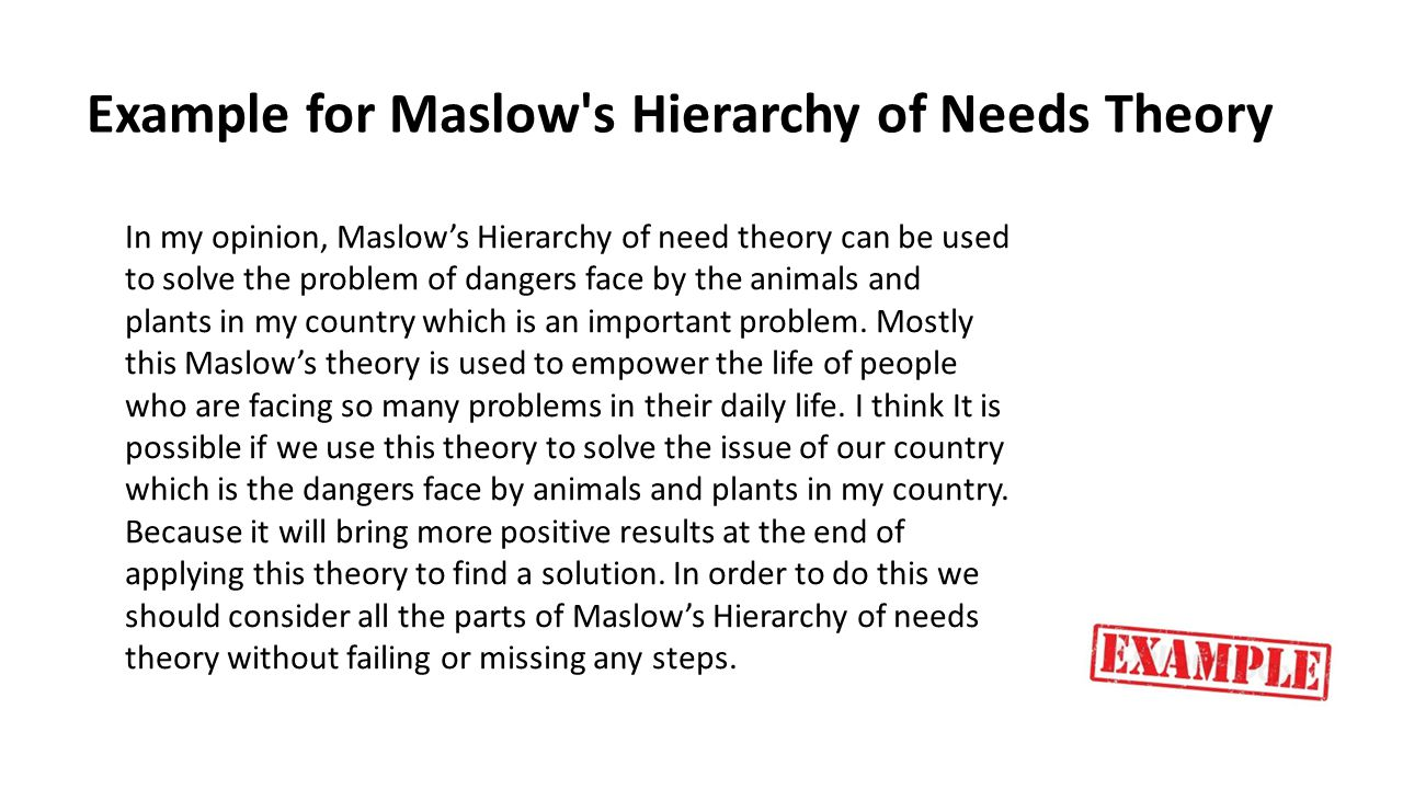 Example for Maslow's Hierarchy of Needs Theory In my opinion, Maslow's Hierarchy of need theory can be used to solve the problem of dangers face by th