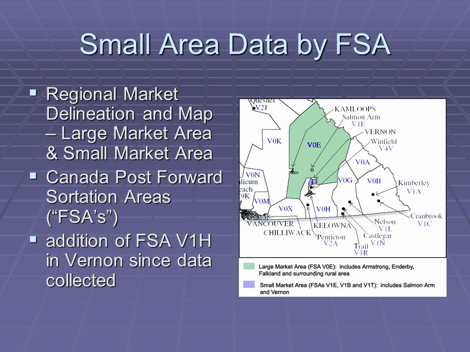 Small Area Data by FSA  Regional Market Delineation and Map – Large Market Area & Small Market Area  Canada Post Forward Sortation Areas ( FSA's )  addition of FSA V1H in Vernon since data collected