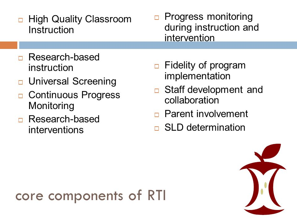 core components of RTI  High Quality Classroom Instruction  Research-based instruction  Universal Screening  Continuous Progress Monitoring  Research-based interventions  Progress monitoring during instruction and intervention  Fidelity of program implementation  Staff development and collaboration  Parent involvement  SLD determination
