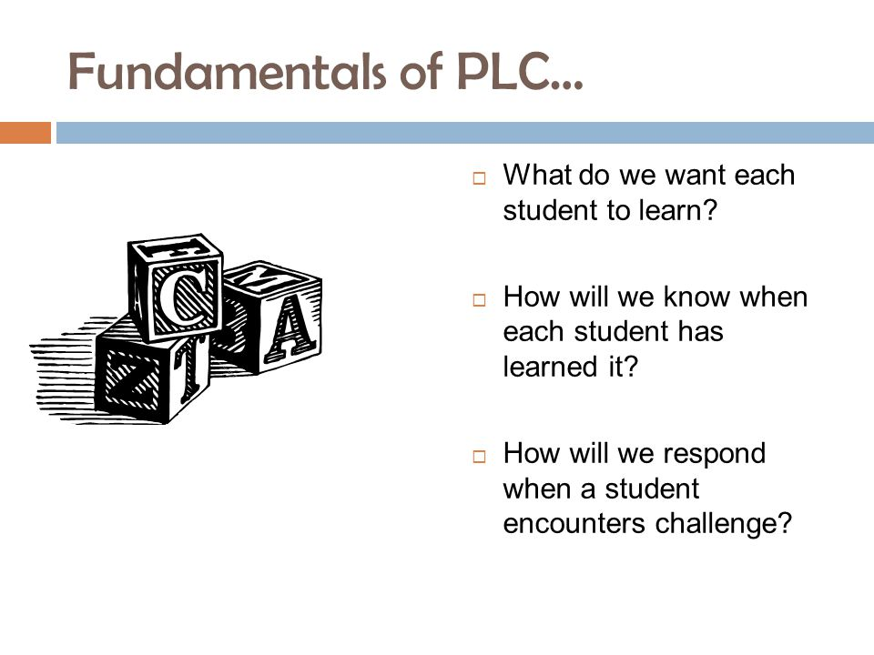 Fundamentals of PLC…  What do we want each student to learn.